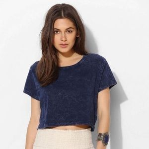 Urban Outfitters Blue Acid Wash Crop Top Tee